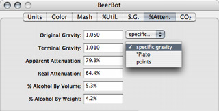 BeerBot brewing software attenuation tab