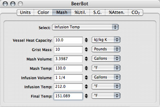 BeerBot brewing software mash tab infusion rate